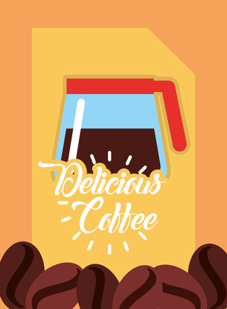 Delicious coffee maker glass fresh beverage seeds vector illustration