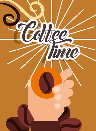 Coffee time hand holding seed grain retro style card vector illustration