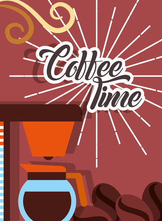Machine maker coffee time seeds retro style card vector illustration.