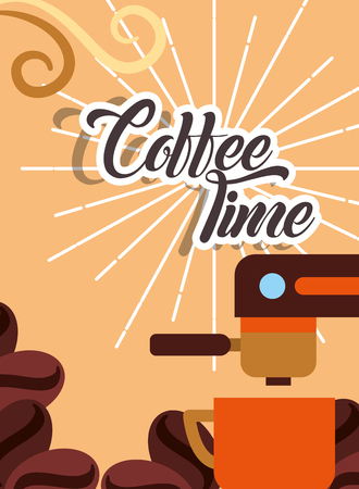 Coffee percolator and porcelain cup seeds retro style card vector illustration.