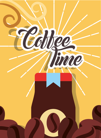 Coffee time jar product instant retro style card vector illustration. Ilustracja