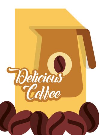 Delicious coffee pitcher handle grain sticker vector illustration.