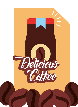Delicious coffee jar product seeds poster vector illustration. 일러스트