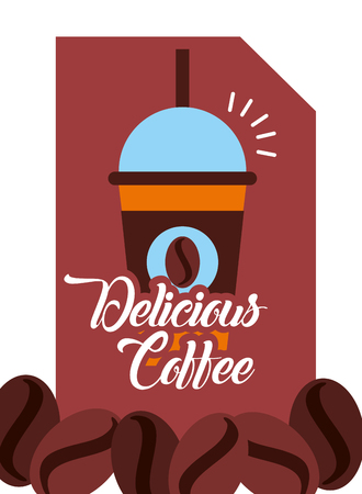 Delicious coffee takeaway with straw poster vector illustration. Ilustração