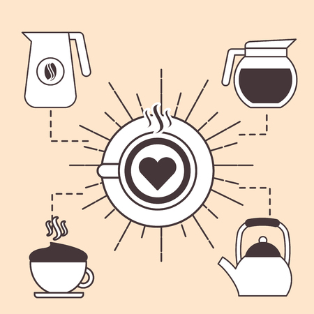 Top view latte art coffee with maker kettle and cup set vector illustration. Illustration