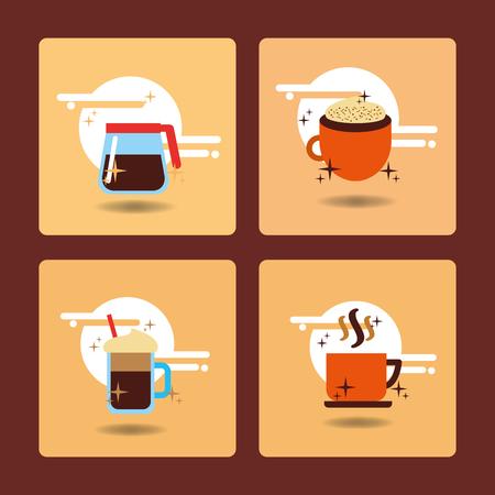 Coffee time set hot drink beverage delicious vector illustration. Ilustração