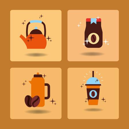 Coffee time set hot drink beverage delicious vector illustration. Illustration