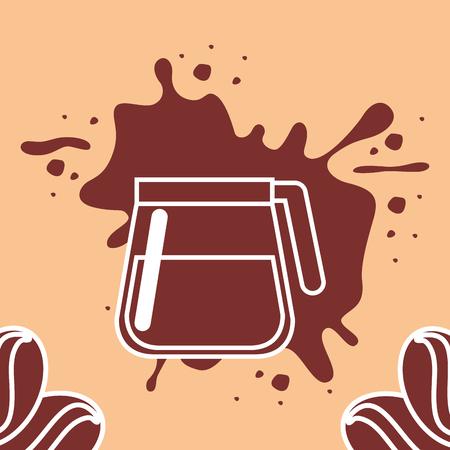 Coffee time card - glass maker with seeds splashed brown vector illustration. Illustration