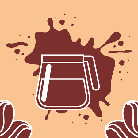 Coffee time card - glass maker with seeds splashed brown vector illustration. Vectores