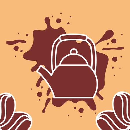 コーヒータイムカード - シルエットケトル種子スプラッシュ茶色のベクトルイラスト。