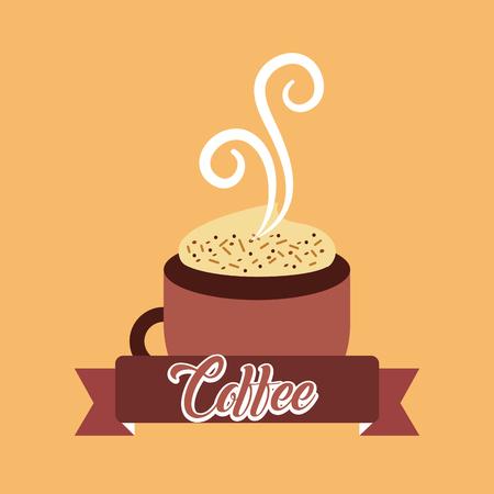 Coffee cup hot foam smoke ribbon banner vector illustration.  イラスト・ベクター素材