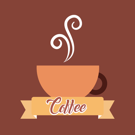 coffee ceramic cup smoke banner vintage style vector illustration Иллюстрация