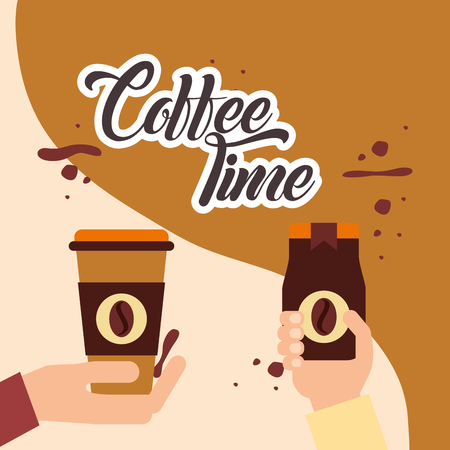coffee hands holding time paper cup and instant bottle vector illustration
