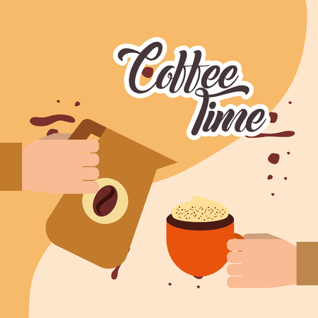 hand holding pitcher and hand with coffee cup vector illustration Illustration