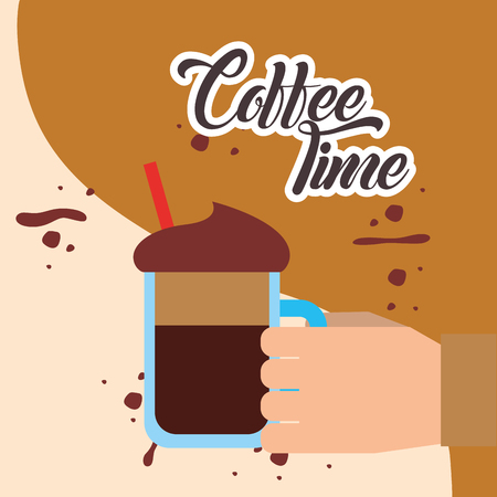 hand holding glass mug frappe with straw vector illustration Ilustração