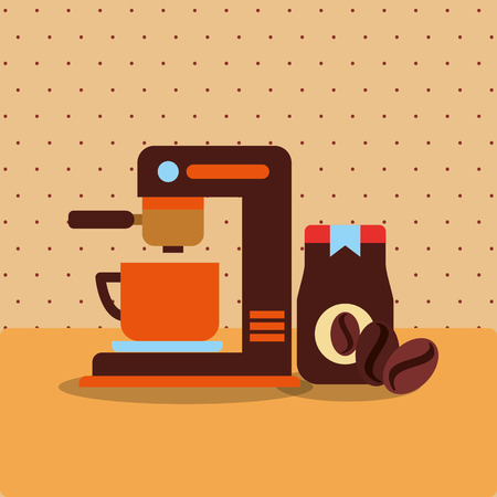 coffee maker machine and bottle and seeds vector illustration