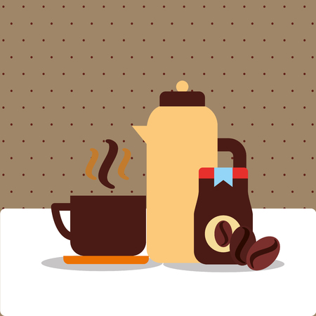 coffee ceramic cup bottle product and beans vector illustration