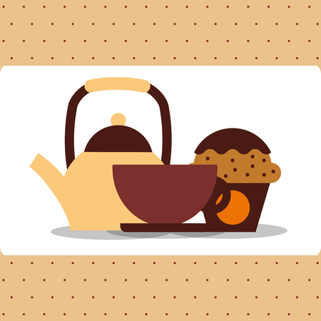 coffee kettle porcelain cup and cupcake vector illustration Иллюстрация