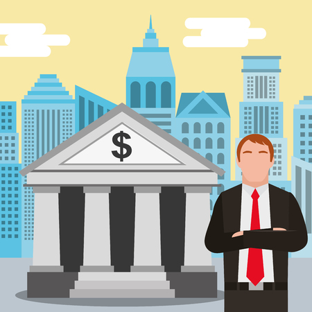 businessman standing at the bank building finance institution with city background vector illustration Ilustrace