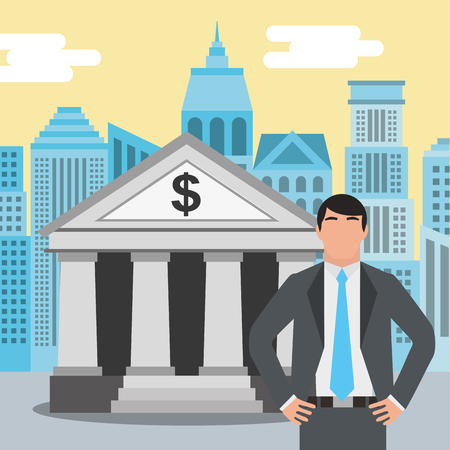 businessman standing at the bank building finance institution with city background vector illustration Çizim