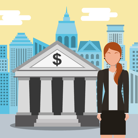 business woman standing at the bank building finance institution with city background vector illustration