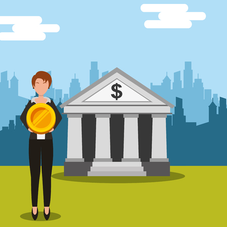 business woman holding big coin money at bank city vector illustration