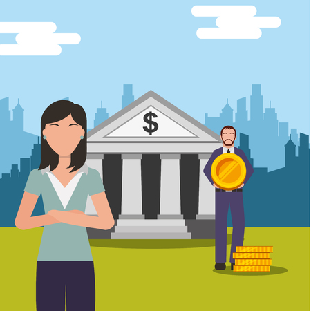 business people man holding coin and woman near bank vector illustration