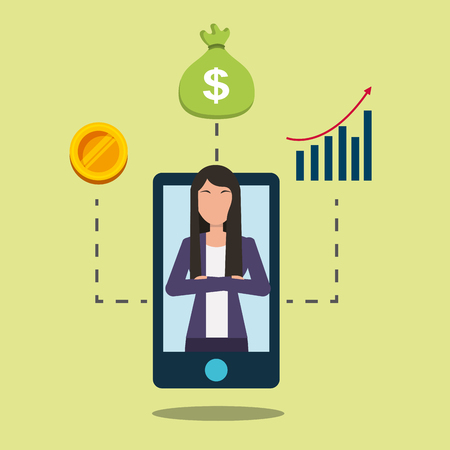 smartphone with business woman on display financial bank vector illustration Banque d'images - 98910303