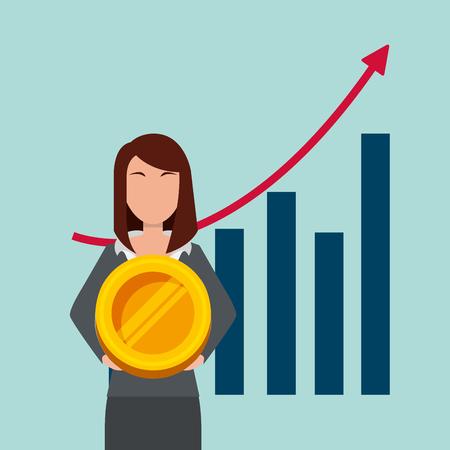 Donna di affari che tiene i soldi dorati della moneta con l'illustrazione di vettore del fondo di statistiche della barra Archivio Fotografico - 98910299