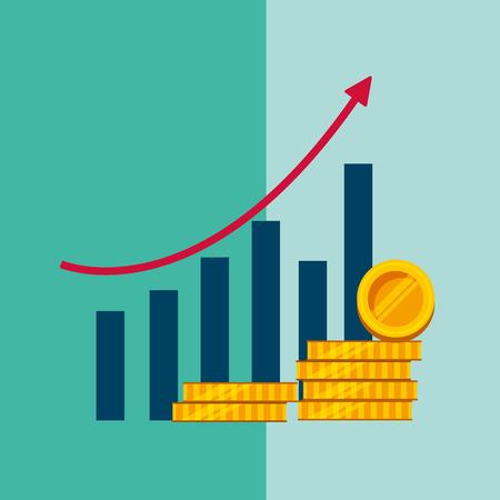 statistics bar graph growth arrow stack coins money vector illustration Ilustração