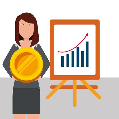 business woman holding coin money and presentation board diagram statistics vector illustration Illustration