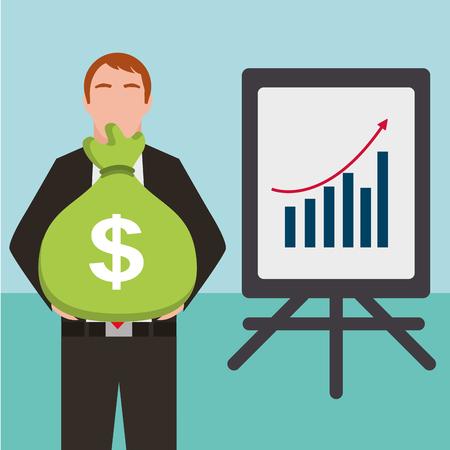 businessman with presentation board planning report finance vector illustration