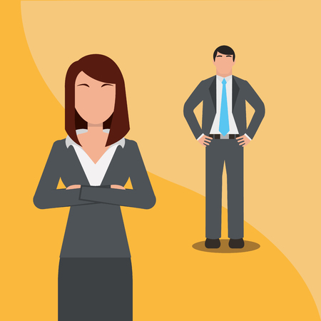 Business man and woman team work people business vector illustration. Archivio Fotografico - 99070955