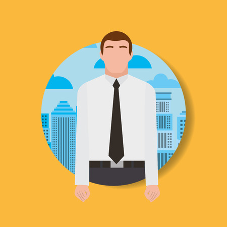 Businessman worker man character and urban background vector illustration. Archivio Fotografico - 99070958