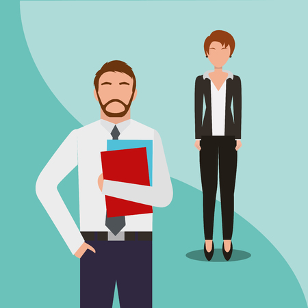 Business man and woman team work people business vector illustration. Archivio Fotografico - 99070962