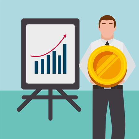 Businessman with presentation board planning report finance vector illustration. Illustration