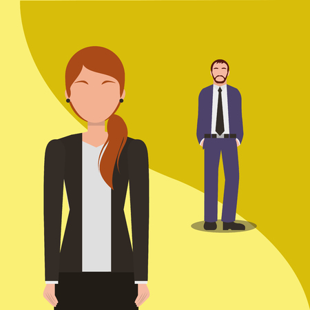 Business man and woman team work people business vector illustration. Archivio Fotografico - 99071017