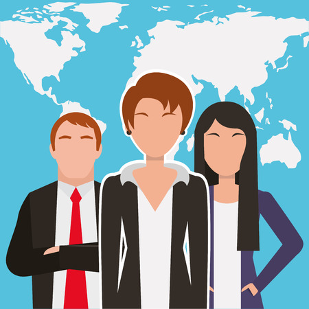 People business workers characters with world map background vector illustration. Illusztráció