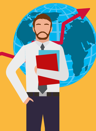 Businessman standing with globe map and growth arrow vector illustration. 일러스트