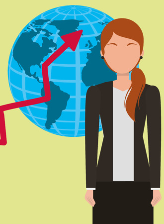 Business woman portrait with globe map and growth arrow vector illustration.