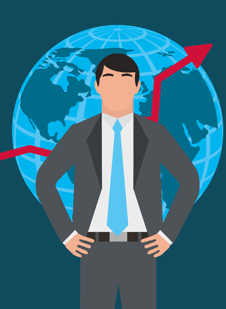Businessman standing with globe map and growth arrow vector illustration. Archivio Fotografico - 99071026