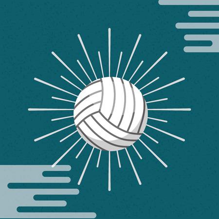 Ball sport volleyball sunburst color background vector illustration. Ilustrace