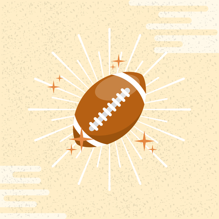 Ball sport american football sunburst color background vector illustration.