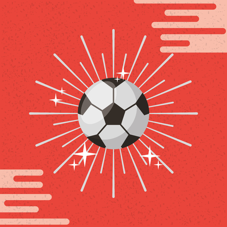 Ball sport soccer sunburst color background vector illustration. Illustration