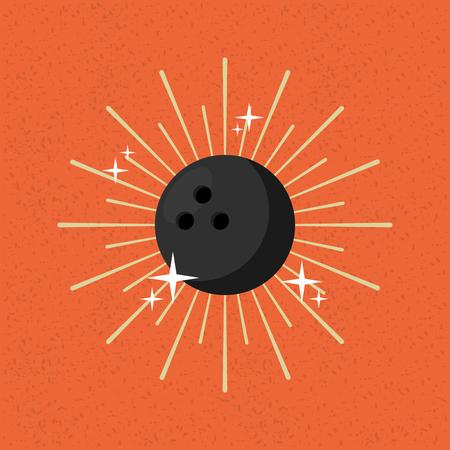 ball sport bowling sunburst color background vector illustration