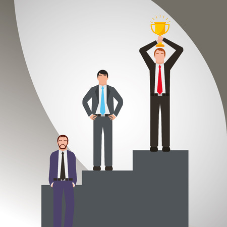Group businessmen standing on the winning podium holding up winning trophy vector illustration.