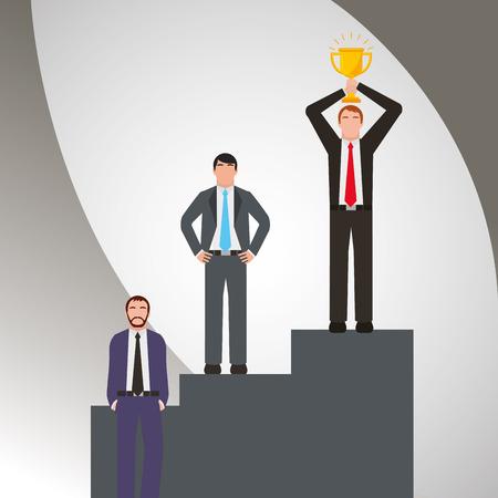 Group businessmen standing on the winning podium holding up winning trophy vector illustration.