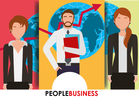 People business banner man and women map and arrow financial vector illustration. Illustration