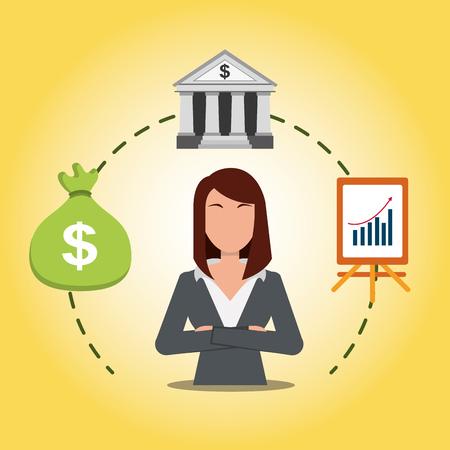 Business woman with bank bag money and presentation statistic finance. Vector illustration. Standard-Bild - 99071080