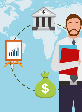 bearded  businessman holding documents with bank money and world map vector illustration  イラスト・ベクター素材